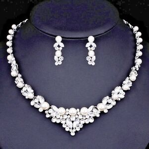 Elegant Bridal Wedding PearlCrystal Jewelry Set Silver Necklace and