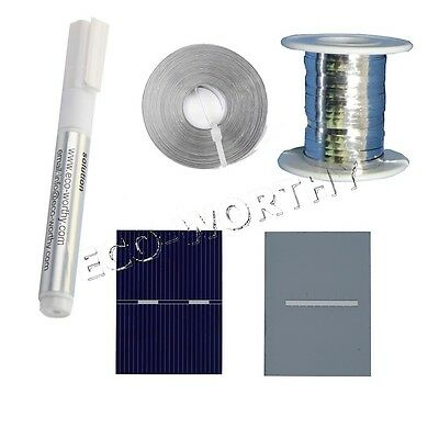 40pcs 52x38MM Solar Cells for DIY 10W Panel w/50' Tab Wire 10' Bus Wire,Flux Pen