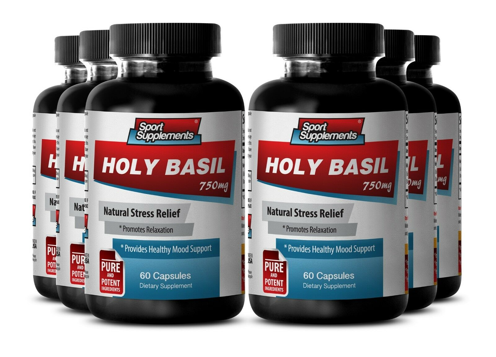 Blood Sugar Support - Holy Basil Extract 750mg - Natural Stress Relief  6B