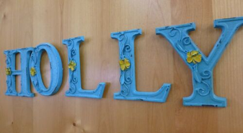 """BLUE CAST IRON WALL LETTER /""""G/"""" 6.5/"""" TALL rustic vintage decor sign child nursery"""