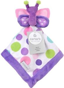 New Carters Plush Purple White Butterfly Security Blanket Lovey Polka Dots