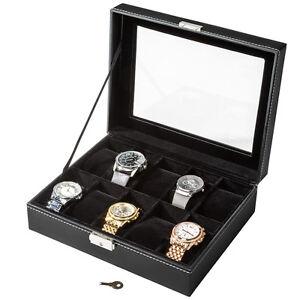 Caja Guarda con Llave 10 Relojes Estuche Tapa Cristal Interior Negro Terciopelo