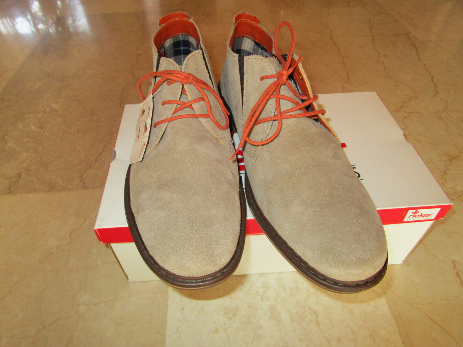 RIEKER Schuhe Leder, Gr.45, beige, Leder, Schuhe neu mit Karton 4833c3