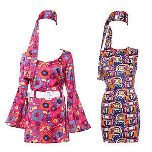 Hippie-Damenkostuem-Kleid-Hippie-Tunika-Party-Kleid-Langarm-Armerlos-Kleider