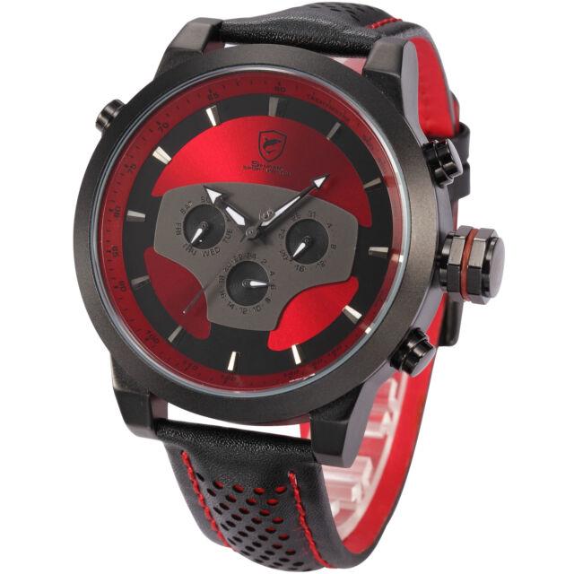 SHARK Men's Sport Military Army Leather Day Date Quartz Analog Wrist Watch