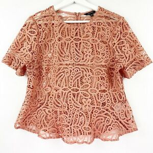 Portmans-Women-039-s-Size-12-Short-Sleeve-Rose-Pink-Lace-Peplum-Top