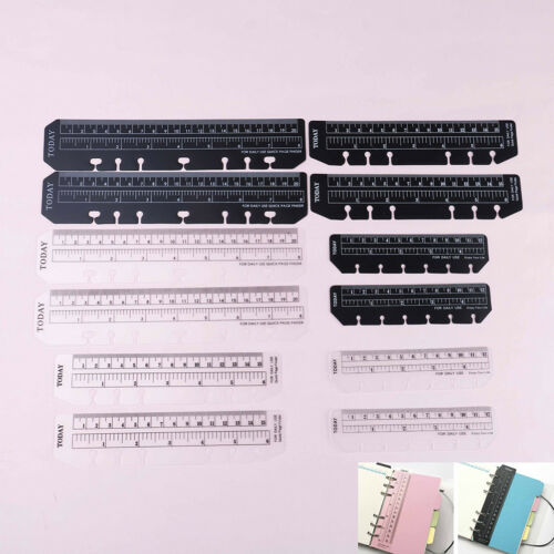 A5 A6 A7 2Pcs Black White Bookmark Rulers Spiral Notebook Quick Page Finder FEH