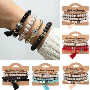 4Pcs-set-Men-Women-Boho-Multi-layer-Natural-Stone-Bracelet-Tassel-Bangle-Bead