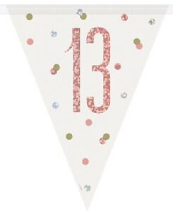 9ft-Rose-Gold-Glitz-13-Flag-Banner-Girls-13th-Birthday-Party-Pennant-Decoration