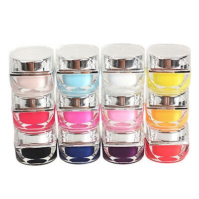 12PCS 3D Nail Art Design Pure Color Glaze UV Gel Builder Set DIY Beauty