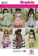 SIMPLICITY SEWING PATTERN 18' DOLL CLOTHES SKIRT JUMPSUIT BAG BODICE  8070