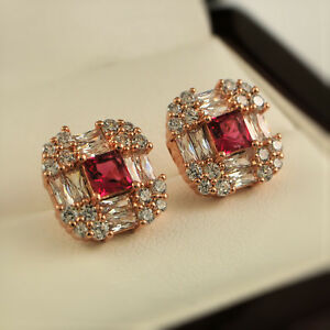 f98c2b67d Rose Gold Filled Pink Clear Cubic Zirconia CZ 11mm Square Stud ...