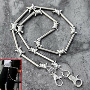 29-034-Heavy-Metal-Barbed-Wire-Silver-Wallet-Chain-Punk-Pants-Chain-Hip-Hop-JewelEF