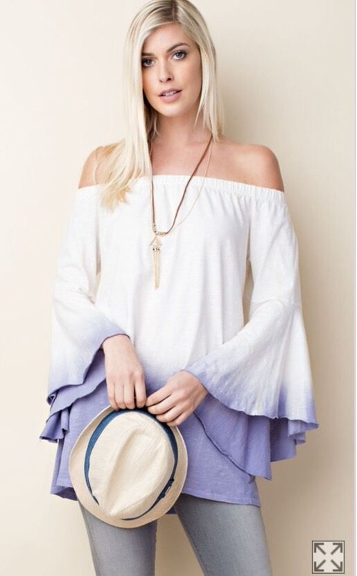 NWT Boutique Ivory Lavender Ombre On Off Shoulder  Kimono Sleeve Sexy Top S M L