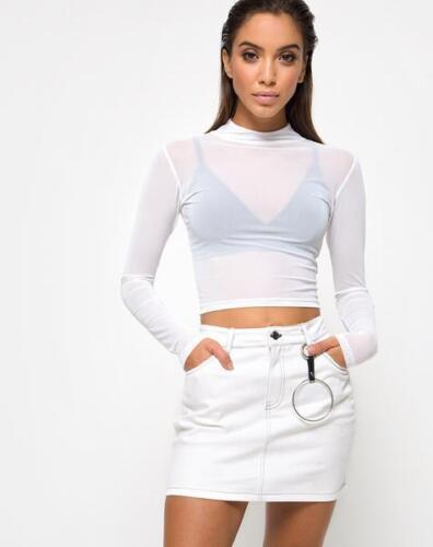 MOTEL ROCKS Mini Broomy Skirt in White S Small mr63.3