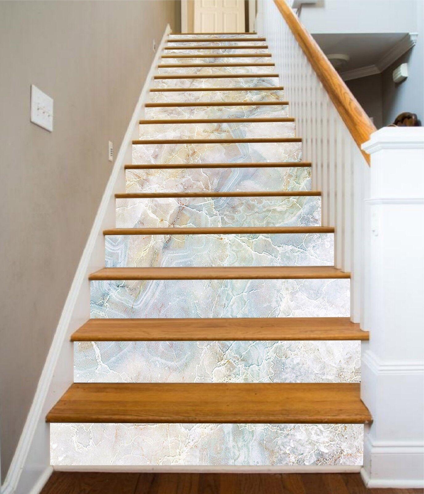 3D Cloud Shape 8 Tile Marble Stair Risers Photo Mural Vinyl Decal Wallpaper