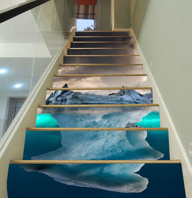 3D Eisberg Ansicht 5Stair Risers Dekoration Fototapete Vinyl Aufkleber Tapete DE