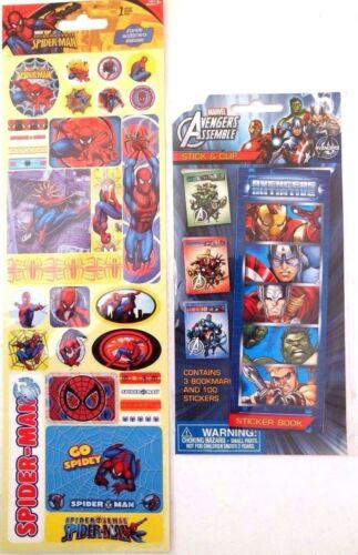 Avengers 3 Bookmarks,100 Stickers & SpiderMan 1 Sheet Of Autocollant Stickers