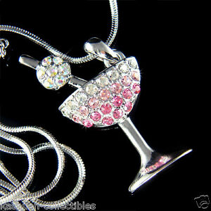 Details About Pink Martini Gl Made With Swarovski Crystal Juicy Cherry Hy Hour Necklace