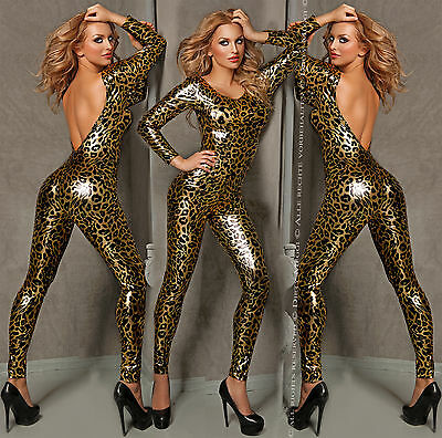 Catsuit Overall Wet Look fetisch Domina Lack Latex Look S M 36 38 Leopard Kostüm