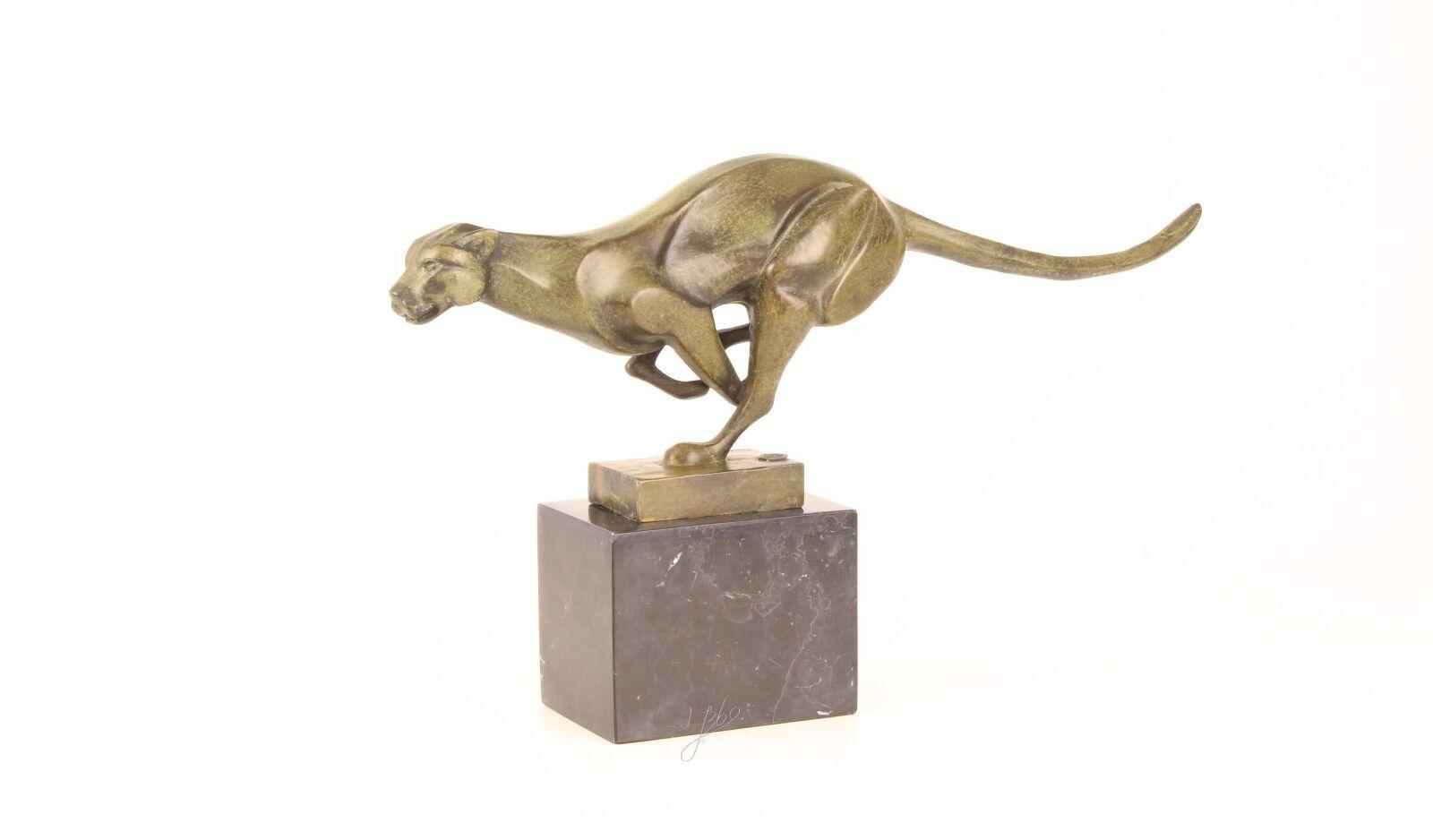 Bronze Skulptur rennender Puma neu 9973381-dssp