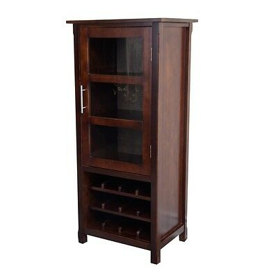 Simpli Home Avalon Collection Tobacco Brown High Storage Wine Rack Cabinet