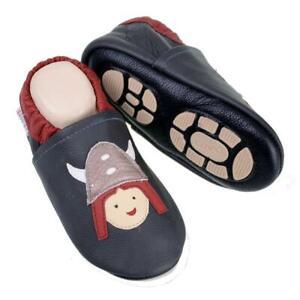 Liya's Babyschuhe Hausschuhe Lederpuschen - #644 Wikinger in grau