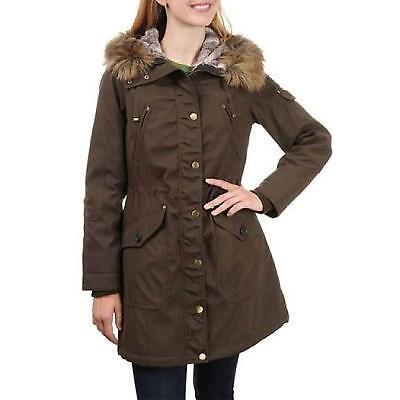 f1e169ce979 1 Madison Expedition Women's Faux Fur Hooded Parka Jacket Dark Olive   eBay