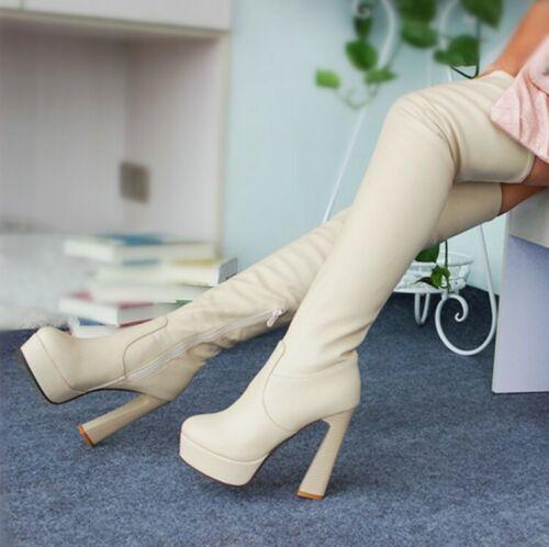 Women Zipper Synthetic Leather Platform Block Heel Over Knee High Thigh Boots