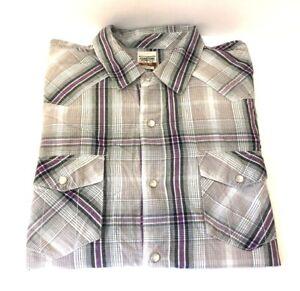 Levis-Men-039-s-Long-Sleeve-Western-Shirt-Modern-XL-Plaid-Pearl-Snaps-100-Cotton