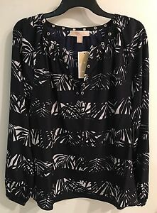 130-Michael-Kors-M-REAL-NAVY-w-SILVER-Hardware-Long-Sleeve-TUNIC-Top-NWT