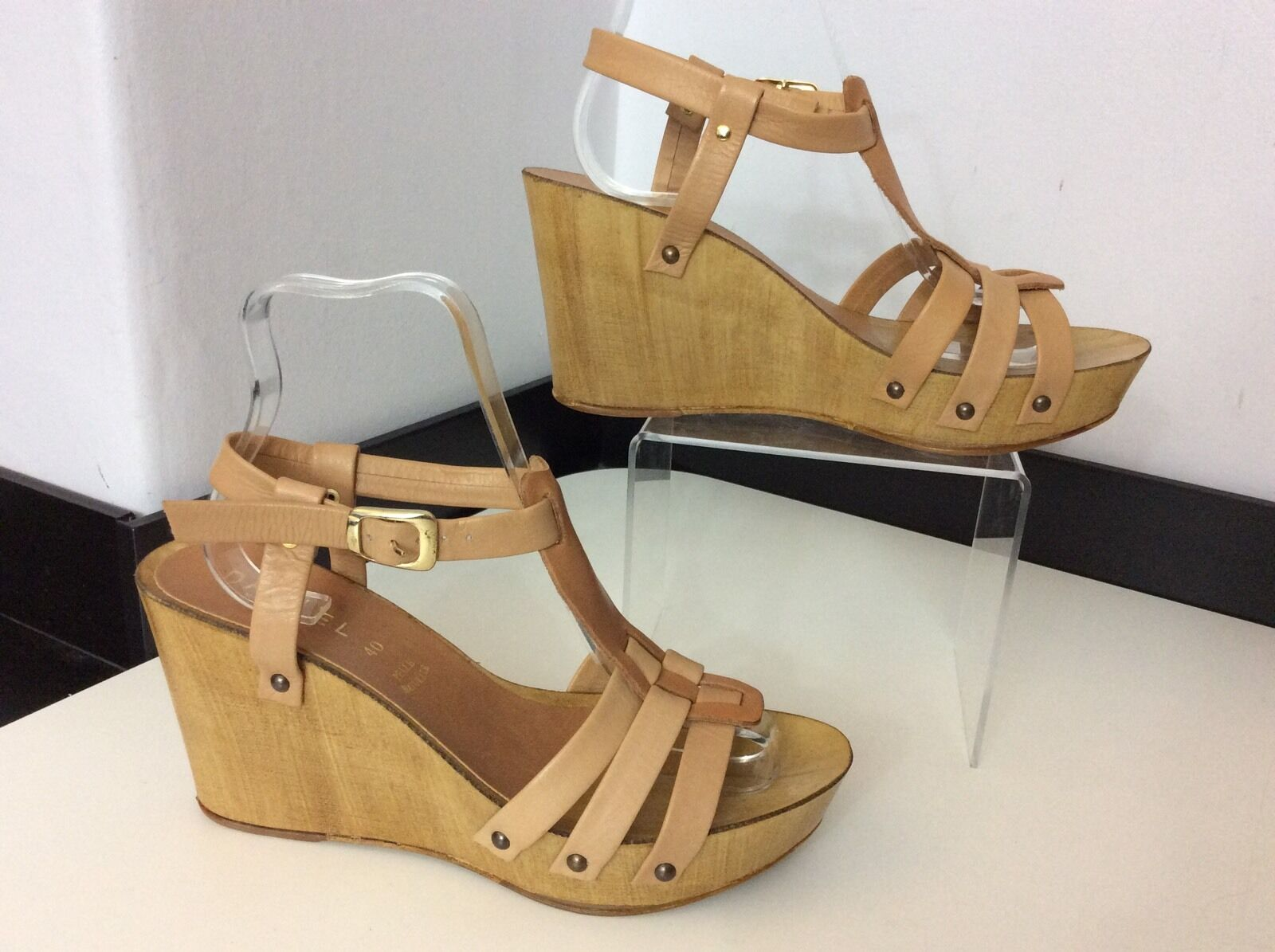 DANIEL NEW tan Leather Wedge schuhe Größe 40 Uk 7 Bnwob