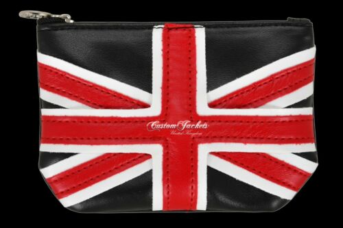 New Ladies Men Union Jack Pouch Purse Synthetic Leather Coin Card Ring Key Hold