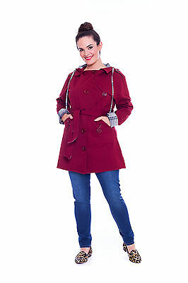 Womens Jacket Coat Hooded Warm Ladies Belted Button Military Plus Size Nouvelle
