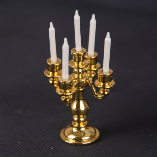 1/12 Scale Miniature Gold Candelabra 5 White Candles Dollhouse Kitchen toy F Ji