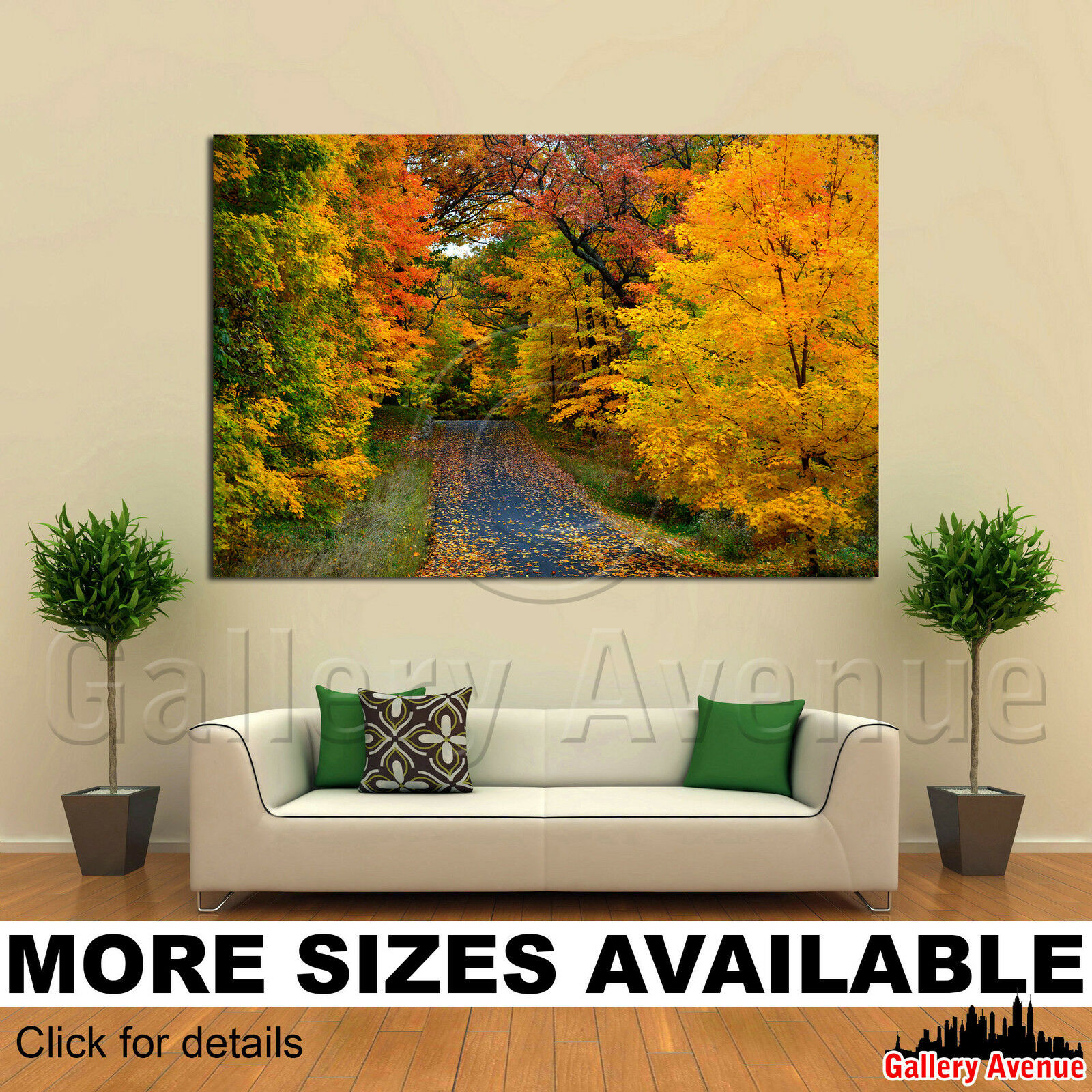 A Wall Art Canvas Picture Print - rot Orange Grün Gelb Trees Road 3.2