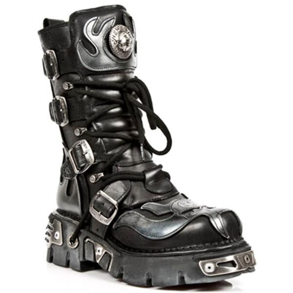New Rock negro plata 107-s2 metalizado botas zapatos cuero genuino Gothic punk rock