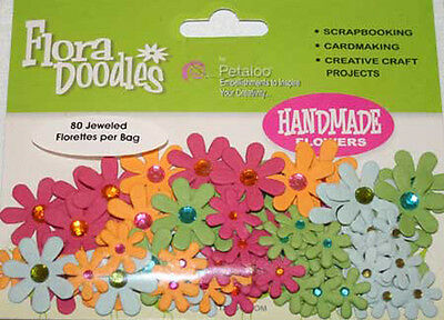 Petaloo PINK, BLUE, GREEN & ORANGE Jeweled Paper Flora Doodles Flowers Scrapbook