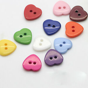 100pcs-Kid-Heart-Mixed-Colors-Resin-Buttons-Sewing-Scrapbooking-Craft-10mm