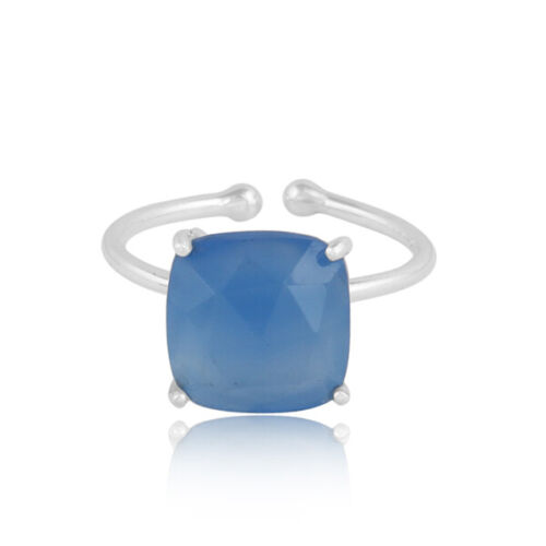 Prong Set Blue Chalcedony Gemstone Ring 925 Silver Designer Jewelry Gift