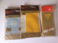 3x Vintage 1960's Martin Emprex Stretch Tights/knee Highs 2x Yellow 1x Blue Bnip