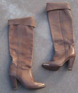 faa124d00a8e0 Details about Vintage Womens 1980s Leather Boots Knee High Brass Toe Tips  Stacked Heel 7 USA