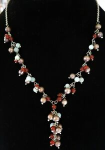 STERLING-SILVER-PEARL-CARNELIAN-amp-PREHNITE-GEM-BEADED-NECKLACE-16-034-14791