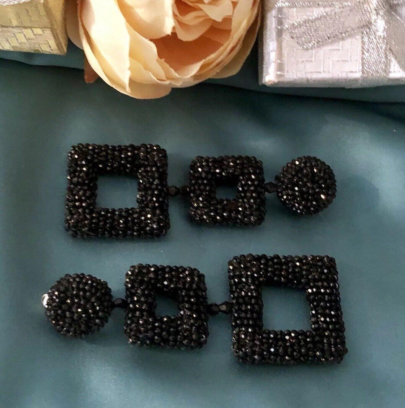 Oscar De La Renta style Double Squared Beaded Earrings clip-on