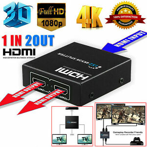 1 In 2 Out Hdmi Umschalter Switch Splitter Verteiler 4k 3d Uhd 1080p Dolby De Ebay