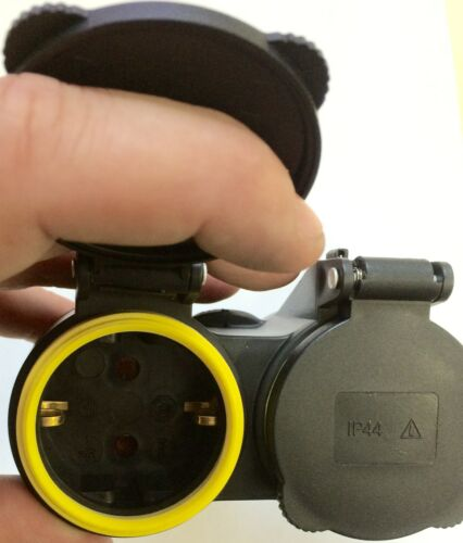 GUMMI DOPPEL 12 Stück SCHUKO KUPPLUNG IP44 Schutzkontaktkupplung Stecker XX