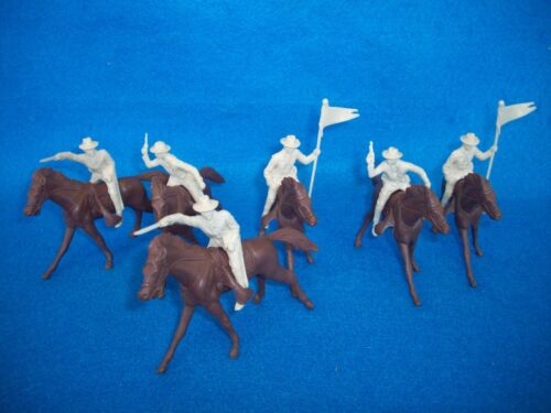 """Marx reissue 54mm /""""long coat/"""" cavalry w// horses in Tan-plainswars or Confederate"""