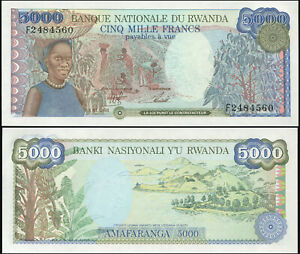 Rwanda 5000 Francs. NEUF 01.01.1988 Billet de banque Cat# P.22a