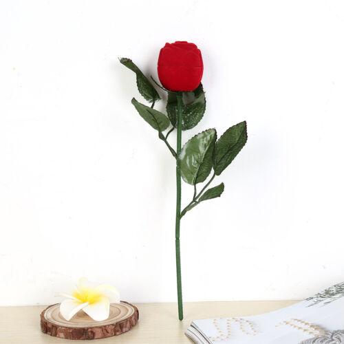 1pc Red Rose Flower Velvet Jewelry Storage Box Engagement Ring Box/_B9