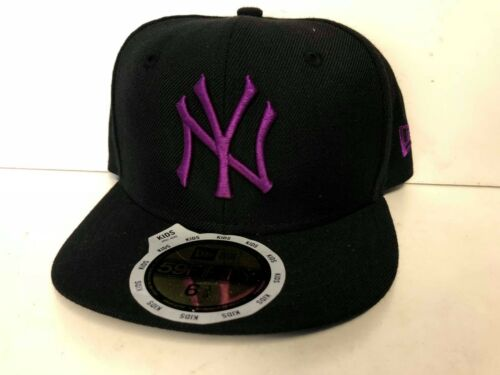 A08 NEW ERA 59fifty NY NEW YORK YANKEES BLACK GRAPE Kids Baseball Cap Var Sizes